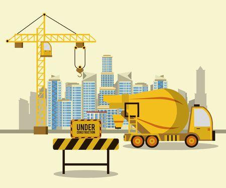 Camión de cemento en diseño gráfico del ejemplo del vector del paisaje de la zona de construcción Ilustración de vector