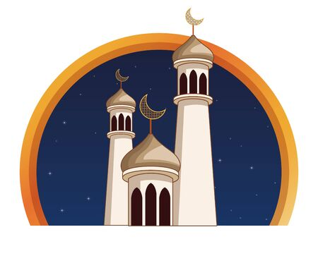 Eid mubarak towers with quarter moon on round emblem vector illustration graphic design