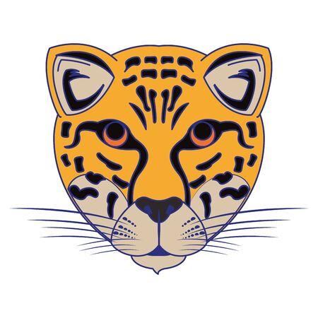 Leopard wildlife animal head cartoon isolated vector illustration graphic design