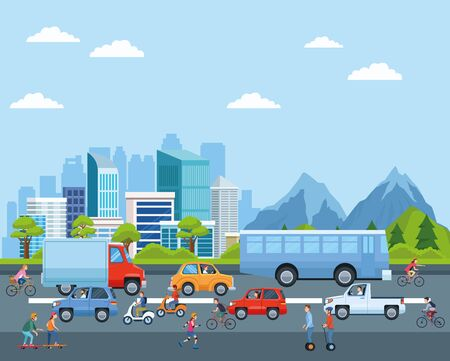 City transportation and mobility, citizens riding differents vehicles on the street with cityscape view cartoons. vector illustration graphic design. Banque d'images - 130769404