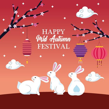 mid autumn chinese festival cute rabbits with oriental lanterns and chinese translate card cartoon vector illustration graphic design Ilustração