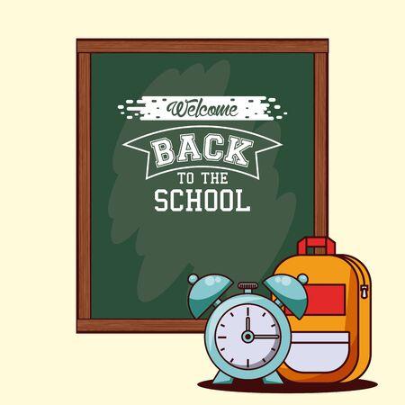 Back to school season card and poster, school utensils and supplies cartoons. vector illustration graphic design Illusztráció