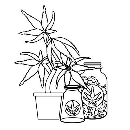cannabis martihuana medical marijuana medicine sativa hemp oil bottles cartoon vector illustration graphic design Illustration