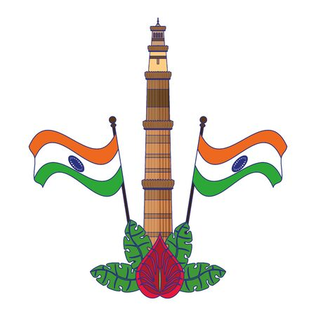 Indian patriotic emblems cartoons tower and flags with flower isolated vector illustration graphic design Çizim