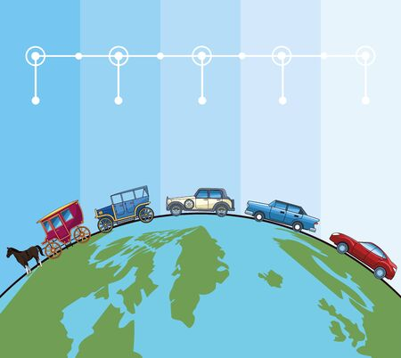 Transport and vehicles evolution, transportation timeline, template infographic with differents styles of cars and horse carriages. vector illustration graphic design