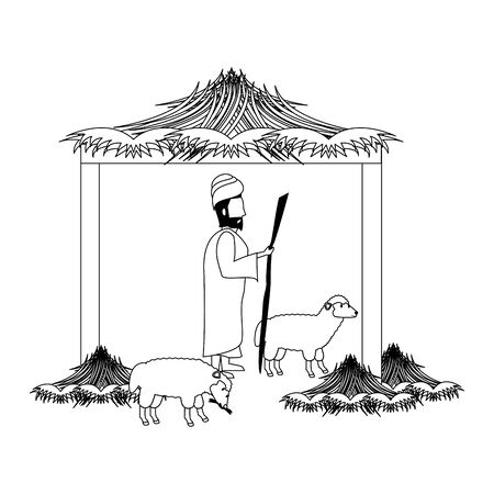 merry christmas nativity christian manger catholic religion december biblical wise man scene cartoon vector illustration graphic design Reklamní fotografie - 130769128
