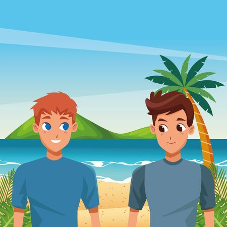 Young male couple smiiling and walking cartoon in the beach scenery ,vector illustration.