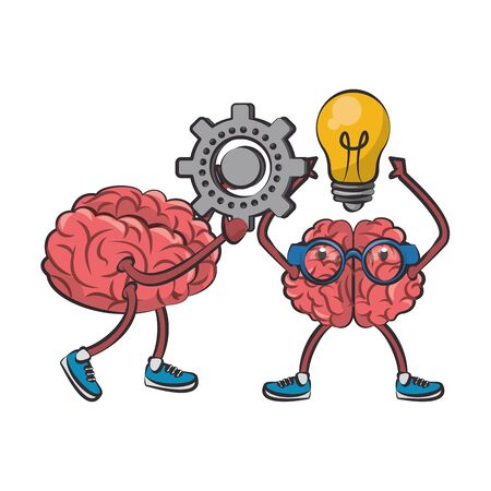 two brains with glasses holding gear and bulb light cartoon vector illustration graphic design Иллюстрация