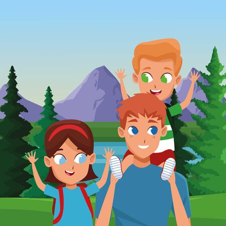 Family single father with son and daughter with backpacks cartoon in the nature landscape background ,vector illustration.