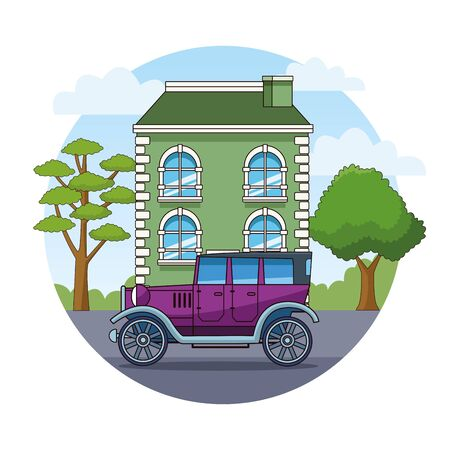 Vintage classic car vehicle sideview riding in the city, urban background vector illustration graphic design Banque d'images - 130769207