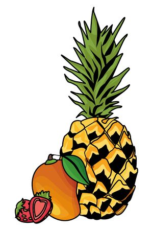 Fresh and delicious tropical pineapple mango and strawberries fruits vector illustration graphic design Иллюстрация