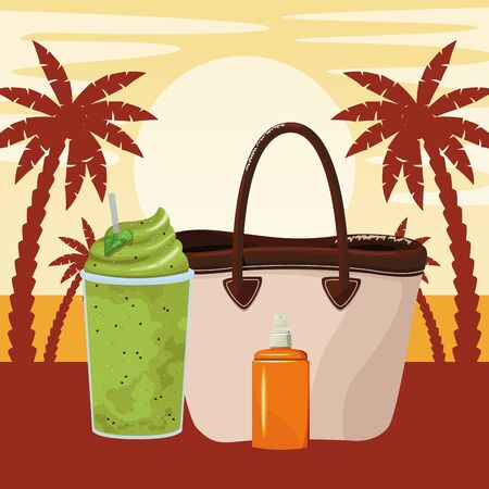 summer beach and vacation with tropical smoothie, sunscreen jar and beach bag icon cartoon over beach sunset landscape vector illustration graphic design