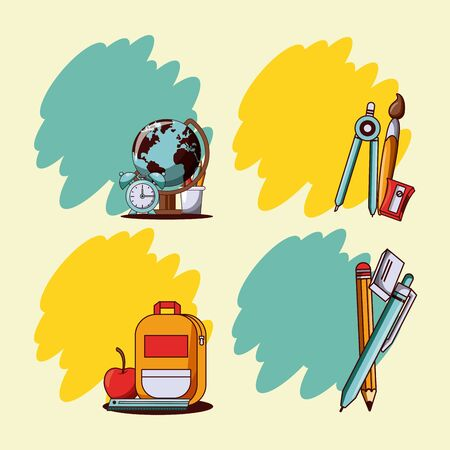 Back to school blank cards collection splash frame with utensils cartoons. vector illustration graphic design Çizim