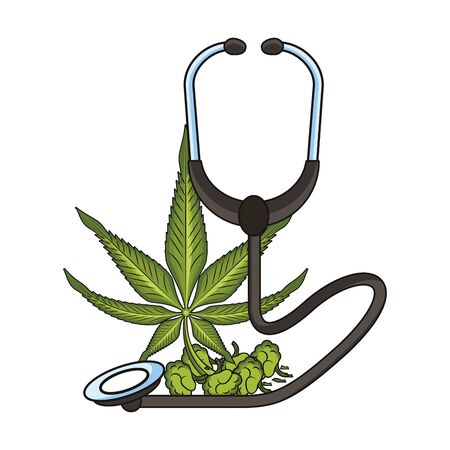 cannabis martihuana medical marijuana sativa hemp medicine plant with buds cartoon vector illustration graphic design