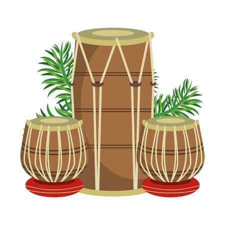 Indian tabla drums with leaves vector illustration graphic design
