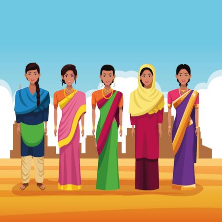 indian women group of india wearing traditional hindu clothes on desertscape scenery vector illustration graphic design Banque d'images - 130769599