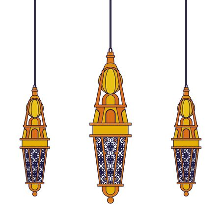 lanterns decoration festival hanging golden lamps, arabic and oriental culture cartoon vector illustration graphic design