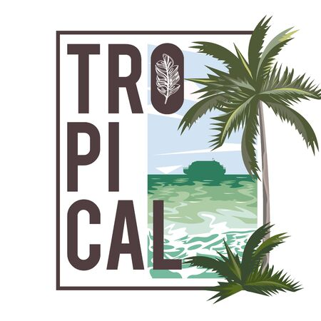 Tropical life and beach summer card travel cartoons, vacations in island. vector illustration graphic design.