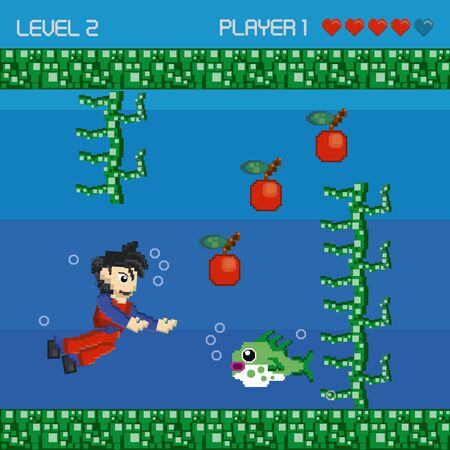 Retro videogame character playing in scenery with enemies and obstacles. ,vector illustration