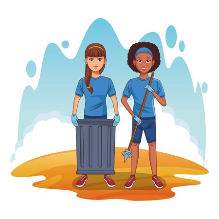 cleaning service person man picking a can and afroamerican woman with bandana and a stick profile picture avatar cartoon character