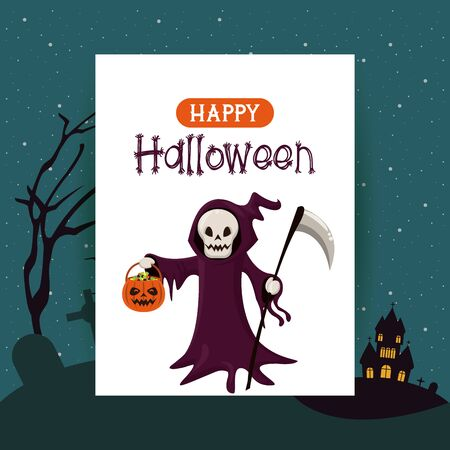 Happy halloween season card with death with candies basket cartoons haunted house background ,vector illustration graphic design. 일러스트
