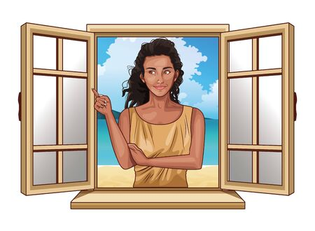 Pop art beautiful afroamerican woman profile cartoon looking from the window ,vector illustration graphic design. Çizim