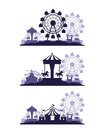 Circus festival fair set o scenarios with fun attractions vector illustration graphic design Ilustração