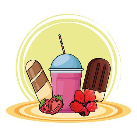 Milkshake cup and ice creams with strawberries and flower on round base vector illustration graphic design