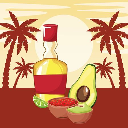 mexican traditional culture with tequila bottle, avocado, mole sauce, guacamole and lemon icon cartoon in sunny landscape with palms silhouette vector illustration graphic design Ilustração