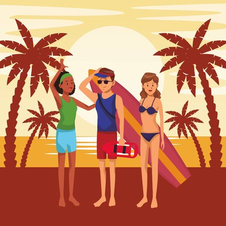 Friends enjoying summer in swimsuit with surf table in the beach scenery sunset vector illustration graphic design Çizim