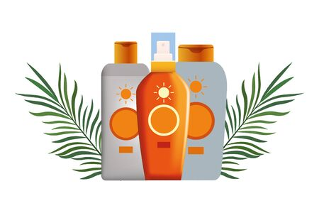 Sun bronzer bottles with palm leaves cosmetic products ,vector illustration graphic design.