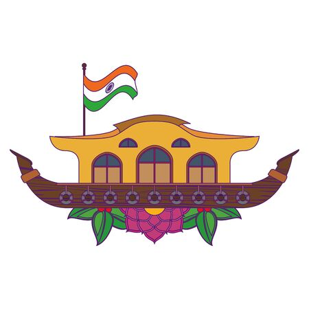 hindu ganges barge with indian flag and flowers icon cartoon vector illustration graphic design Illustration
