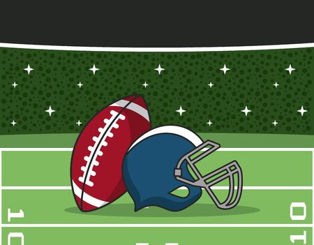 American football stadium with sport equipment, blue and red helmet and ball, vector illustration.