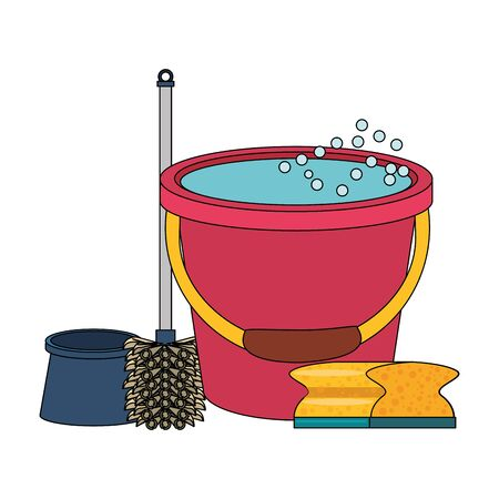 Cleaning equipment and products water bucket and sponge with toilet brush vector illustration graphic design.