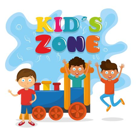 kids zone entertaiment three children playing over a train avatar cartoon character vector illustration graphic design