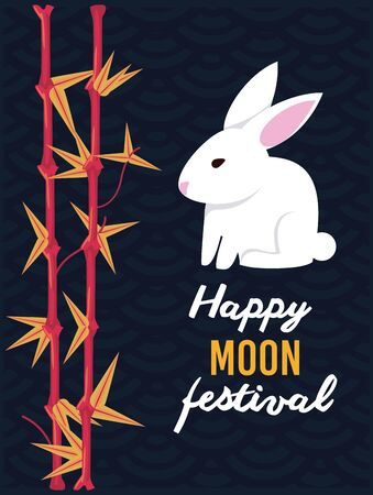 Happy moon and mid autumn festival card with rabbit cartoons, autumn season poster, chinese and asian celebration. vector illustration graphic design.