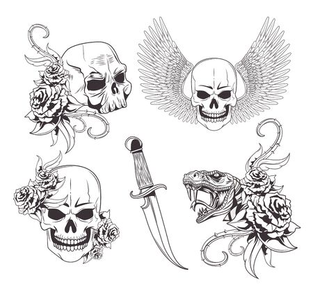 Tattoo old school drawings white background vector illustration graphic design