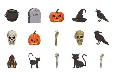 bundle of halloween set icons vector illustration design