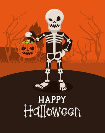 Happy halloween season card with skull holding pumpkin basket with candies cartoons ,vector illustration graphic design.