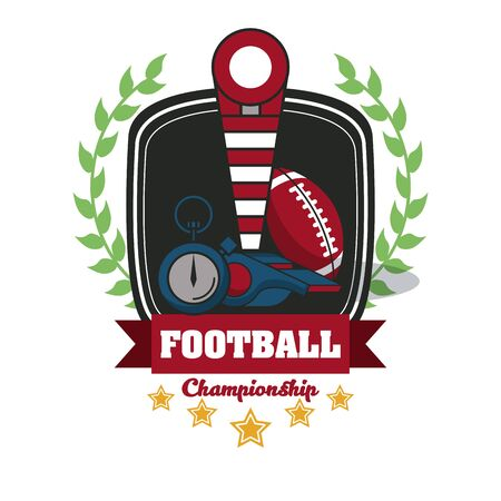 Football sport championship emblem with equipment symbols with wreath and five stars , sport tournament. vector illustration.