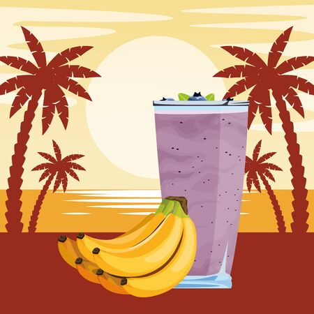 tropical fruit and smoothie drink with banana cluster icon cartoon over beach sunset landscape vector illustration graphic design