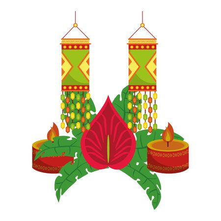 Ugadi indian celebration emblems flower candle and paper lights cartoons vector illustration graphic design