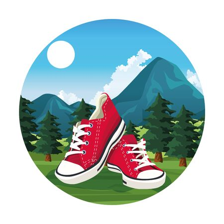 Travel and adventure shoes at nature round icon vector illustration graphic design.