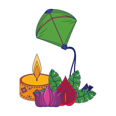 Candle kite and flowers with leaves decorative indian emblem vector illustration graphic design