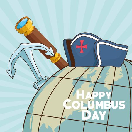 colombus columbus day card with antique navigation tools cartoons, america discovery celebration, travel and history. vector illustration graphic design 일러스트