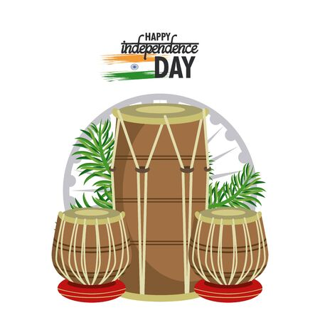 India independence day card with patriotic monuments and emblems, poster holiday. drums music instruments vector illustration