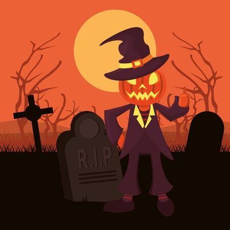 halloween dark scene with person costume of pumpkin vector illustration design