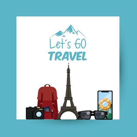travel journey and tourism places with passport into a bag and eiffel tower with lets go travel sign icon cartoon vector illustration graphic design Stock Illustratie