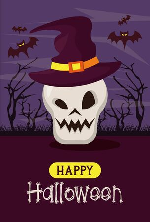 Happy halloween season card poster with funny cartoons in scary night background ,vector illustration graphic design. 일러스트