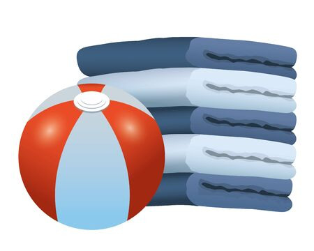 Beach ball and towels piled up, vector illustration graphic design.  イラスト・ベクター素材
